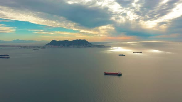Thumbnail for View on Cargo Port and Bay of Gibraltar Bay of Algeciras. Gibraltar, United Kingdom, Europe