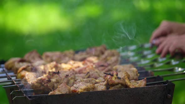 Grilling barbecue meat on wood coal