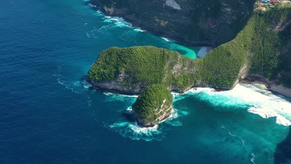 Kelingking beach, Nusa Penida, Bali, Indonesia. Aerial view at sea and rocks