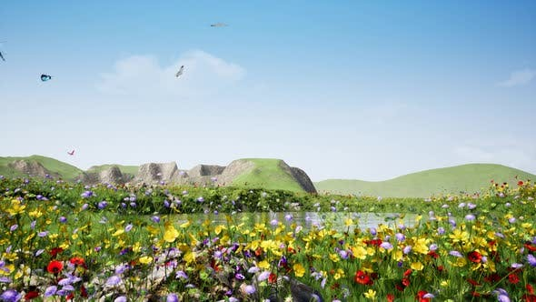Thumbnail for Near The Lake Colorful Flowers And Butterflies