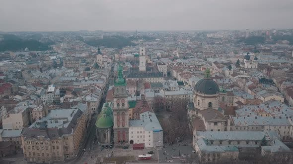 Thumbnail for Aerial City Lviv, Ukraine. European City. Popular Areas of the City