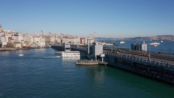 Thumbnail for Istanbul Galata Bridge Aerial View 4