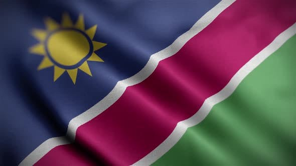 Namibia Flag Textured Waving Close Up Background HD