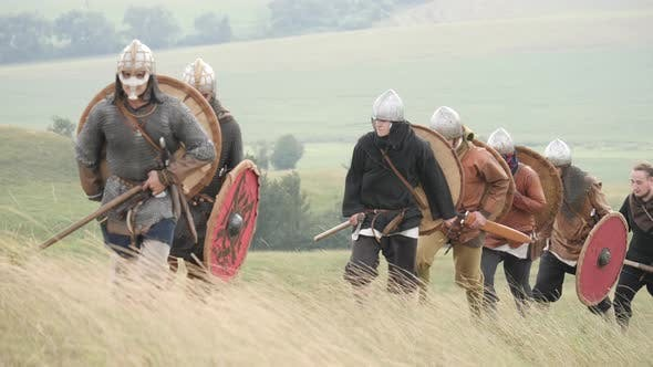 Vikings going up the hill