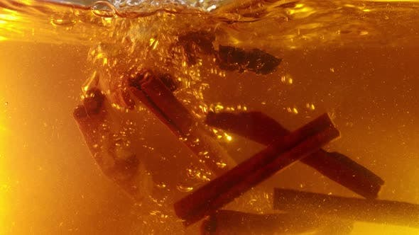 Thumbnail for Spices Flying and Falling, in Tea or Mulled Wine, Underwater Slow Motion
