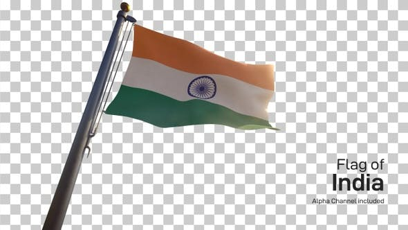 India Flag on a Flagpole with Alpha-Channel