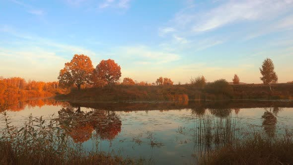Thumbnail for Beautiful Autumn, Calm Forest Lake.
