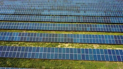 Solar Energy Panels In The Field. View on equipment on a solar energy power station