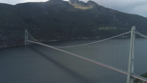 Thumbnail for Hardanger Bridge Across the Hardangerfjord in Norway in Summer Day. Fjord and Mountains. Aerial View