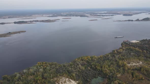 Thumbnail for Aerial View of the Dnipro River - the Main River of Ukraine