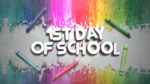 Animated closeup text 1st Day of School and closeup colorful chalk on blackboard, school background