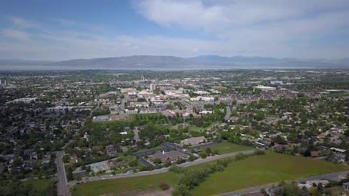 Aerial view of Utah Valley towards Utah Lake