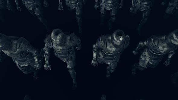 Средневековый рыцарь армии ходьба вид сверху V3 Hd