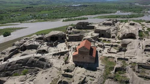 Uplistsikhe is an ancient cave city. Aerial view