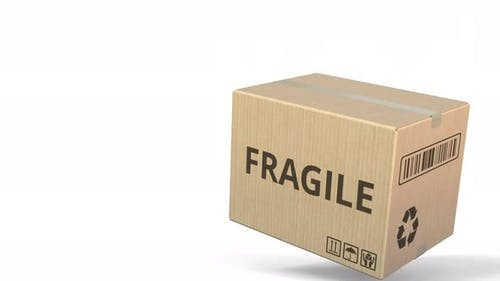 Falling Box with FRAGILE Inscription