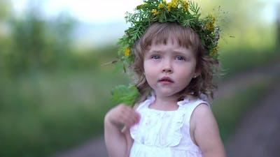 Portrait of a Little Girl in a Wildflowers Wreath on Her Head