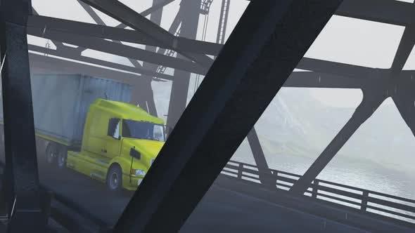 Freight Truck Crossing the Bridge