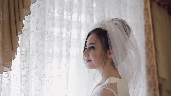 Thumbnail for Beautiful and Lovely Bride in Night Gown and Veil. Wedding Morning. Slow Motion