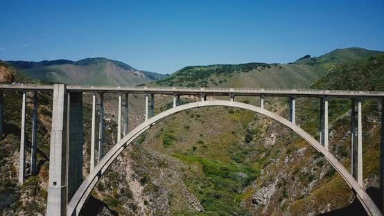 Thumbnail for Drone Is Flying Right Under Iconic Famous Bixby Creek Bridge at Highway 1, Famous American Travel
