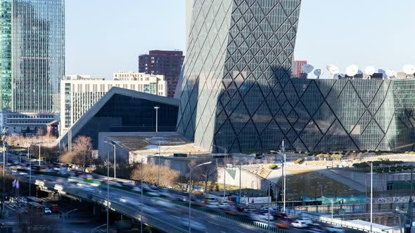 Thumbnail for Central Business Area in Beijing China Downtown Timelapse