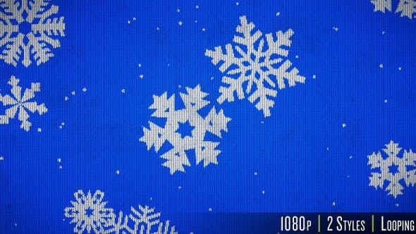 Thumbnail for Knitted Sweater Texture of Snowflakes Falling Background