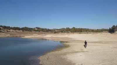 Pond Hiking Man Landscape Aerial