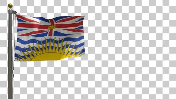 Thumbnail for British Columbia Flag on Flagpole with Alpha Channel - 4K