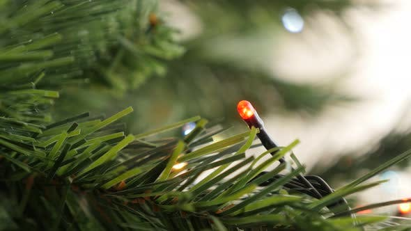 Thumbnail for Close-up of Christmas tree dot sparkles sequence 3840X2160 UltraHD footage - Colorful  lights in a r