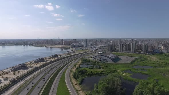 Thumbnail for Aerial Waterside View of Kazan, Russia. City Buildings and Highway