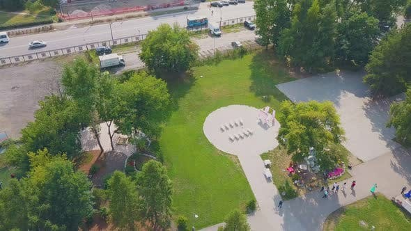 Wedding Venue with Benches in Picturesque Park Bird Eye View