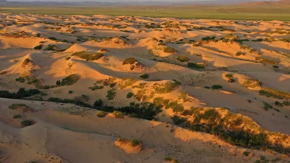 Aerial View of Sand Dunes at Sunrise in Mongolia