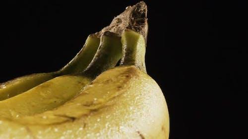 Three Banana Bunch Rotating On black. Slow motion, 60 fps