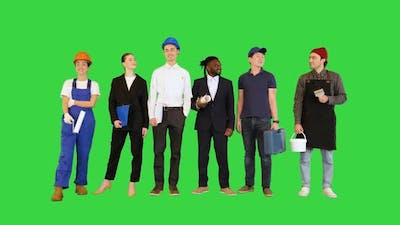 Crowd or Group of People of Different Professions on a Green Screen Chroma Key