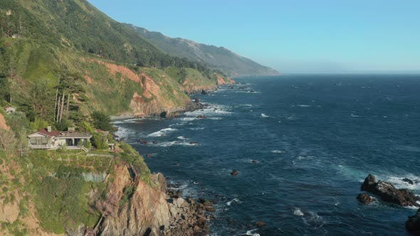 Thumbnail for Aerial of Cinematic Landscape of Famous Touristic Road Trip Along West Coast