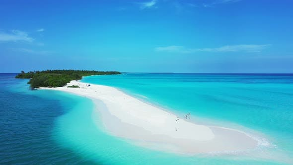 Thumbnail for Natural drone island view of a sandy white paradise beach and aqua blue ocean background in hi res