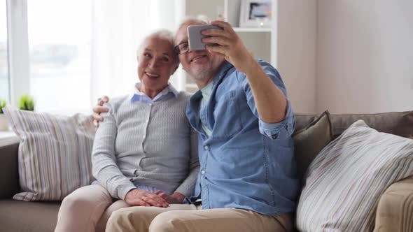 Thumbnail for Senior Couple Taking Selfie By Smartphone at Home 83