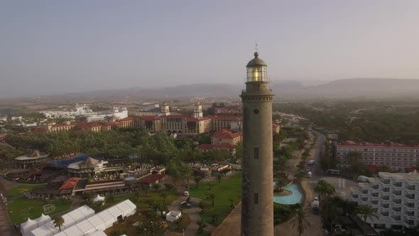 Thumbnail for Aerial Scene of Tourist Town and Lighthouse. Maspalomas, Gran Canaria