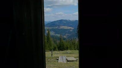 An Open Door Overlooking the Mountain Scenery