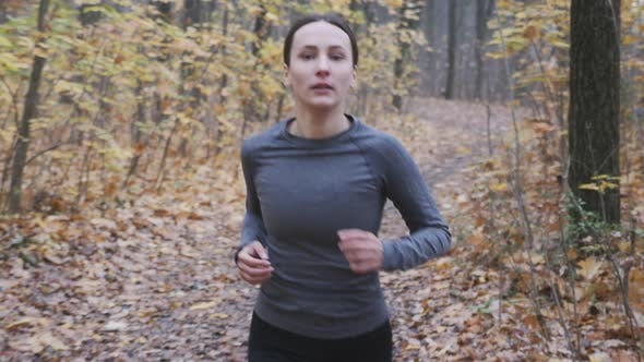 Beautiful sportive fit female hard training for running competition in autumn forest. Run concept