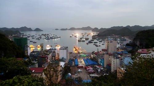 Landscape of City Cat Ba Island Sunset in Ha Long Bay, Vietnam
