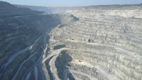 Aerial Panorama Cascade Asbestos Quarry and Excavator