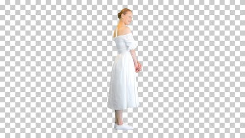 Beautiful Woman in White Dress posing to camera, Alpha Channel