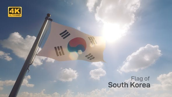 Thumbnail for South Korea Flag on a Flagpole V2 - 4K