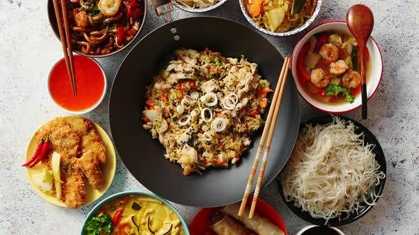 Thumbnail for Asian Oriental Food Composition in Colorful Dishware