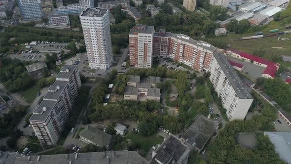 Aerial view of preschool building in big city 18