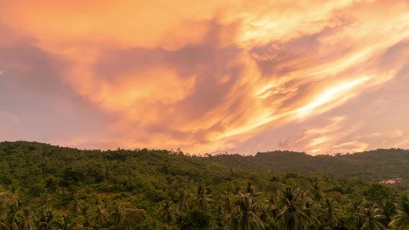 Cover Image for Evening Clouds over Jungle on Sunset on Koh Samui, Thailand. Timelapse
