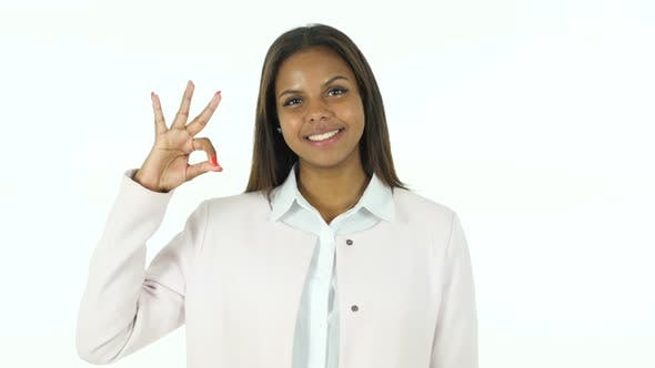 Thumbnail for Okay Sign by Afro-American Beautiful Woman, White Background