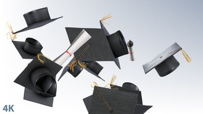 Graduation Caps Flying in Slow Motion