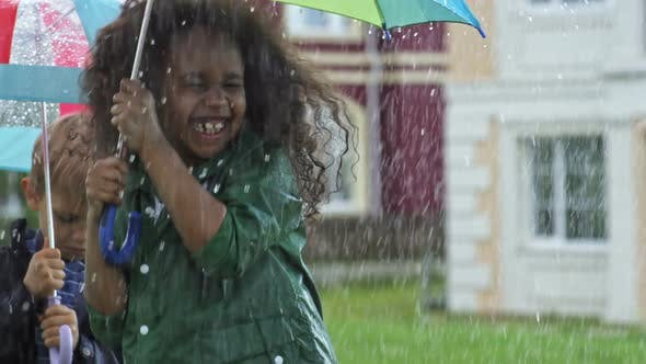 Cover Image for Laughing Preschooler Jumping in Rain