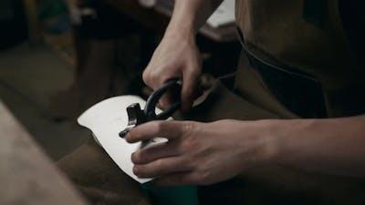Shoemaker Man Makes Leather Shoes for Men Sole of Shoe Handmade Craft DIY Process Craftsman Making